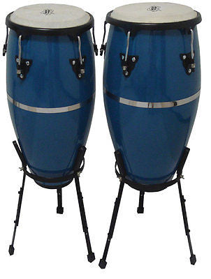 "New! CANNON® Congas with Pro Basket Stands 10"" & 11"" Dark Blue Awesome Quality"