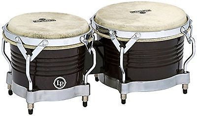 Latin Percussion M201-BKWC LP Matador Wood Bongos - Black Wood/Chrome