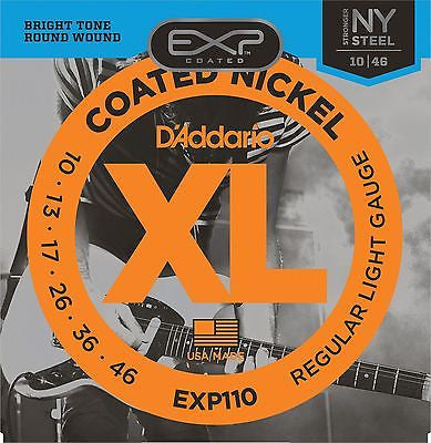 D'Addario EXP110 Coated Electric Guitar Strings, Light, 10-46