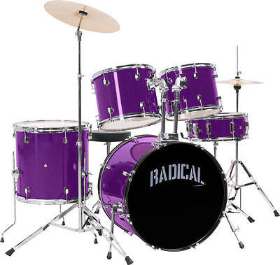 NEW! Radical Rock Purple 5 Piece Drum Set Complete - Cymbals - Stands - Throne