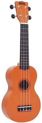 Mahalo Rainbow Series Soprano Ukulele Orange Uke Carrying Case Aquila Nylgut