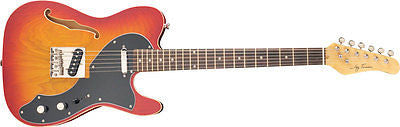 New! Jay Turser LT-CRUSDLX Series Electric Guitar, Cherry Sunburst Semi-Hollow
