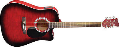 New! Jay Turser JJ-45FCET Series Acoustic Electric Guitar Red Sunburst