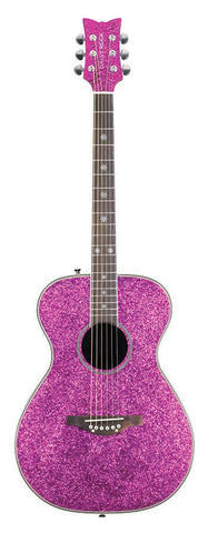 New! Daisy Rock Guitars - Pixie Acoustic Electric Pink Sparkle Guitar