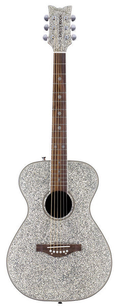 New! Daisy Rock Guitars - Pixie Acoustic Silver Sparkle Guitar Model 14-6206
