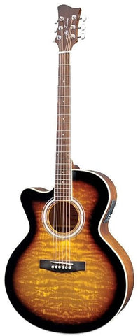 New Jay Turser JTA424Q-CET Acoustic Electric Guitar Left Handed Tobacco Sunburst