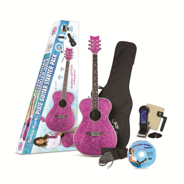 Daisy Rock Girl Guitars Pixie Acoustic-Electric Guitar Starter Pack Pink Sparkle