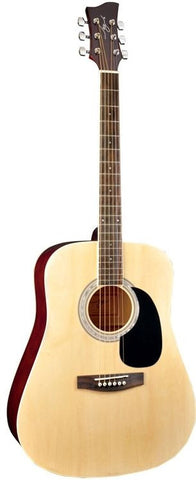 New! Jay Turser JJ-45 Series Acoustic Guitar Natural - Abalone Rosette