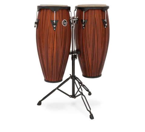 "LP Latin Percussion Carved Mango Wood Congas 10"" & 11"" with Stand"