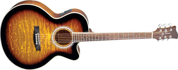 New! Jay Turser JTA424Q-CET Acoustic Electric Guitar Tobacco Sunburst Quilt Top