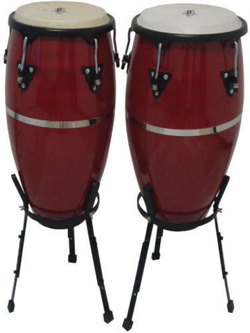 "CANNON® Dark Red Congas - Pro Basket Stands - 10"" & 11"" - Durable - Awesome Tone"
