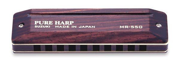 New! Suzuki Pure Harp Harmonica Key of Ab in Hard Case - Rosewood Reed Covers