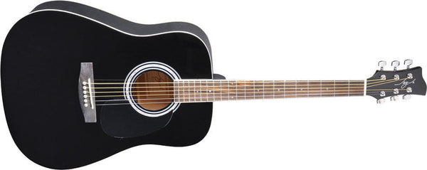 New! Jay Turser JJ-45 Series Acoustic Guitar Black - Awesome Abalone Rosette