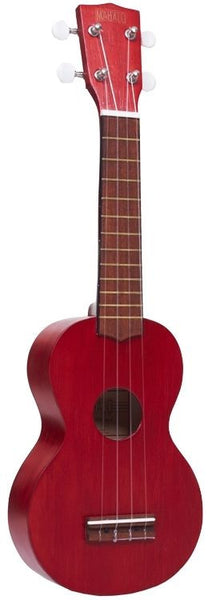 New! Mahalo Kahiko Ukulele Transparent Red Uke Bag Case Mahogany Bridge