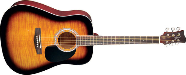 New! Jay Turser JJ-45F Series Acoustic Guitar, Tobacco Sunburst