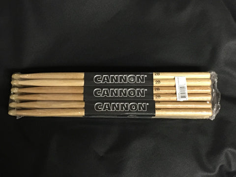NEW! 12 Pairs First Quality Cannon 2B 2BN - Rock Nylon Tip Oak Drumsticks