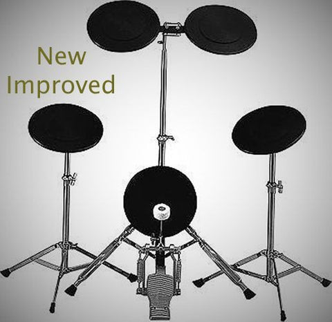 NEW TKO PS1 5-Piece Drum Set Rubber Practice Pad Kit - Bass Drum Pedal Fast Ship