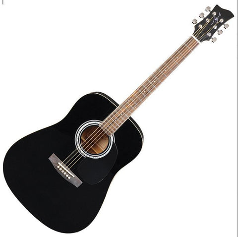 New! Jay Turser JJ-45 EQ Series Acoustic Electric Guitar Black - Abalone Rosette