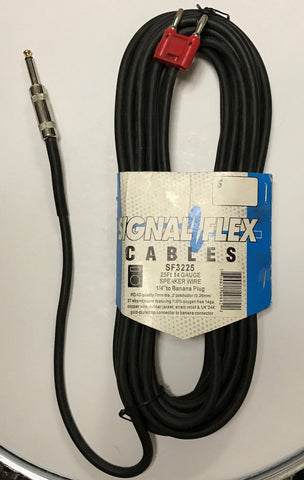 "New! Signal Flex 25 foot 1/4"" to dual banana plugs 14 gauge speaker cable cord"