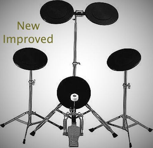 NEW! TKO PS1 5-Piece Drum Set Rubber Practice Pad Kit w/ Bass Drum Pedal