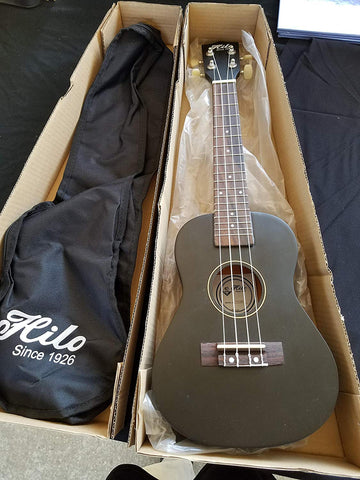 Hilo Concert Ukulele in Black with Carry Bag