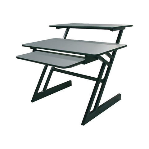 2/ctns Workstation Dual Level Black frame Grey top shelves