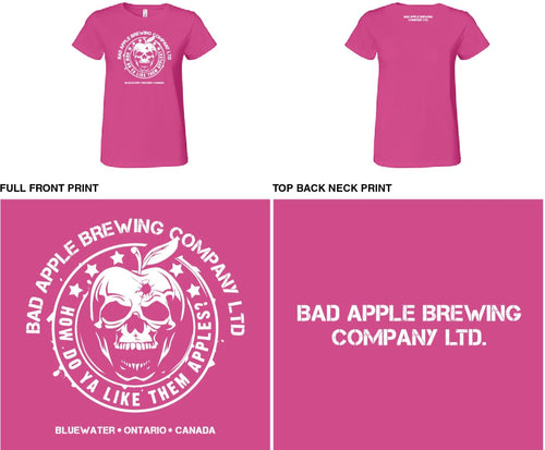 ladies round neck tee shirt with Bad Apple logo