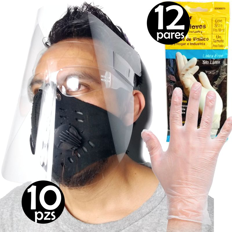 Kit 10 Mascarillas Caretas Protectores Facial Con 12 Pares Guantes