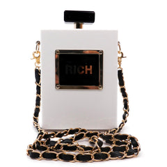 Dominique - black and white perfume shaped clutch