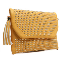 Carmen-Yellow studded clutch