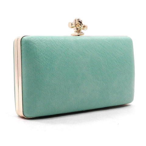 Melinda-Mint clutch with gold trim