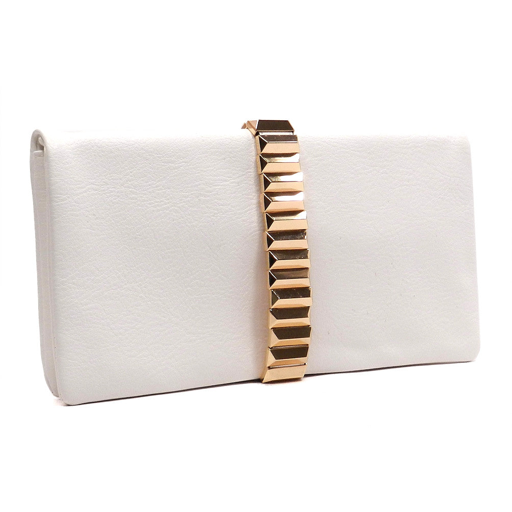 Wanda-White clutch with gold accessories