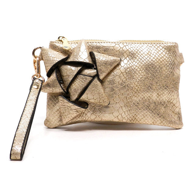 Vanessa-Gold clutch with bow