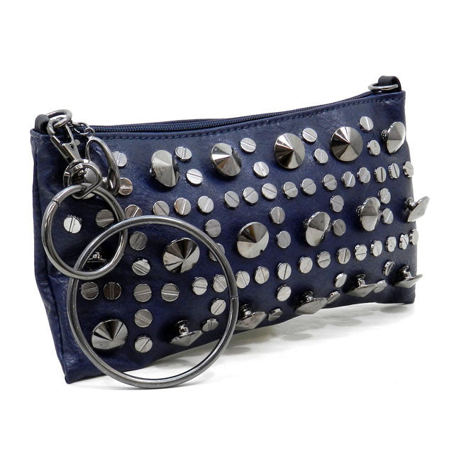 Charli- Dark blue clutch with silver studs