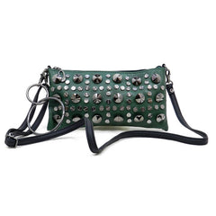 Jessica- Dark green clutch with silver studs