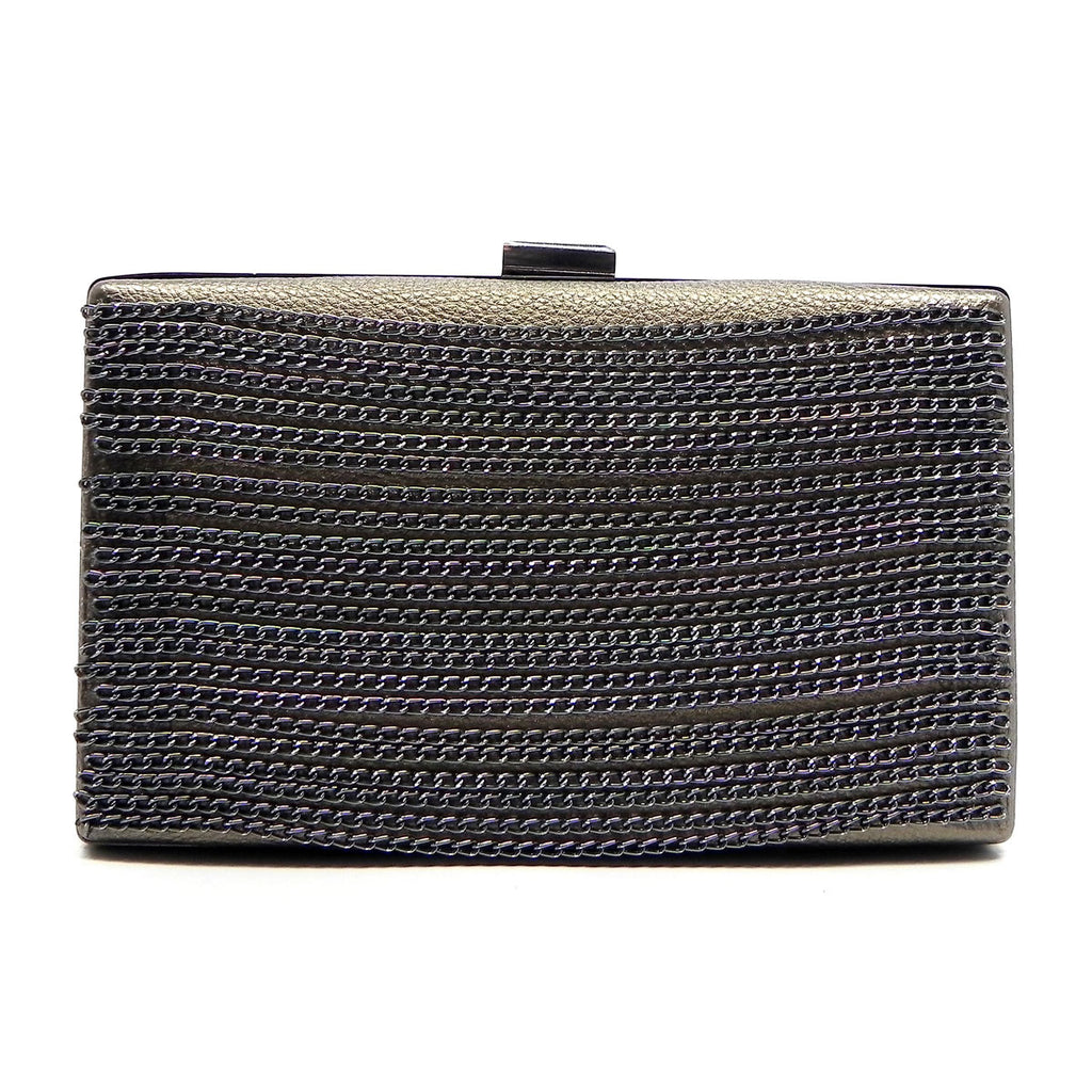 Nickie-Pewter clutch with chains