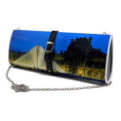 Latoya- Blue and Black Paris inspired  magazine clutch