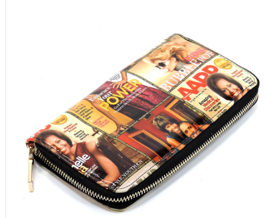 Michelle Obama Magazine Cover Collage Fringe Studded Round Satchel & Wallet Set (2 in 1)