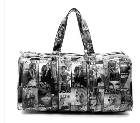 Michelle Obama Black and White Duffle/Gym or Overnight Bag
