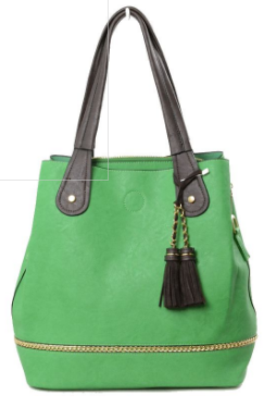 Shante-Green tote bag with black handles