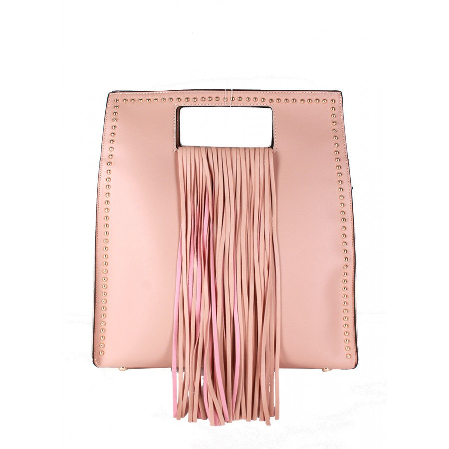 Ashley (Light pink rectangular fringe handbag)