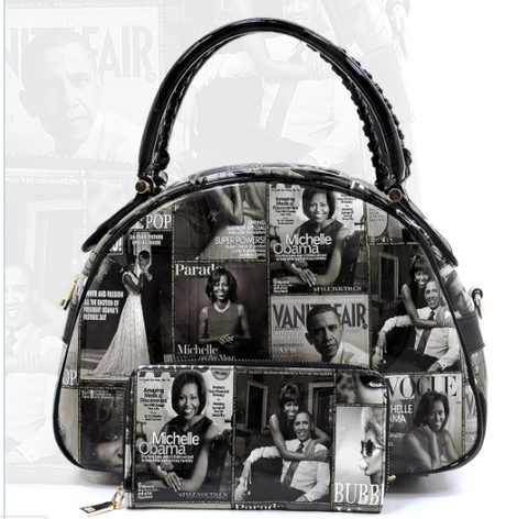 Michelle Obama Magazine Cover Collage Dome Satchel & Wallet (2 in 1 set)