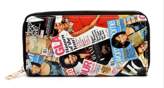 Michelle Obama Magazine Cover Collage Zip Around Wallet