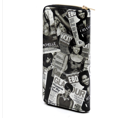 Michelle Obama Black & White Magazine Cover Collage Zip Around Wallet