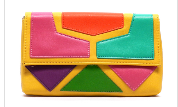 Yellow Color Block Clutch