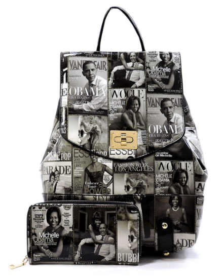 Michelle Obama Magazine Cover Collage Backpack & Wallet Set (Black & White)