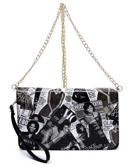 Black and White Michelle Obama Color Magazine Cover Flap Clutch