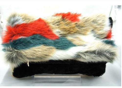 Tori (Oversized faux fur clutch with shoulder strap)
