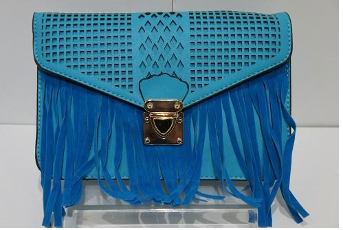 Teela (Turquoise small cross-body bag with fringe)