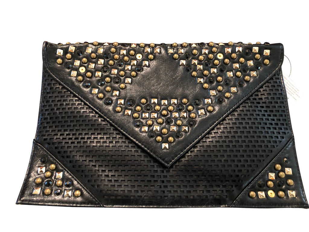 Britney (Large Black Clutch with Gold Studs)